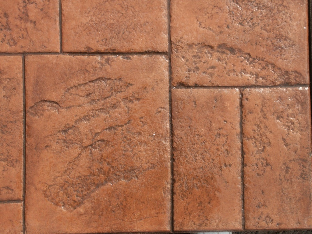 Closeup photo of an Ashlar cut slate concrete stamp.