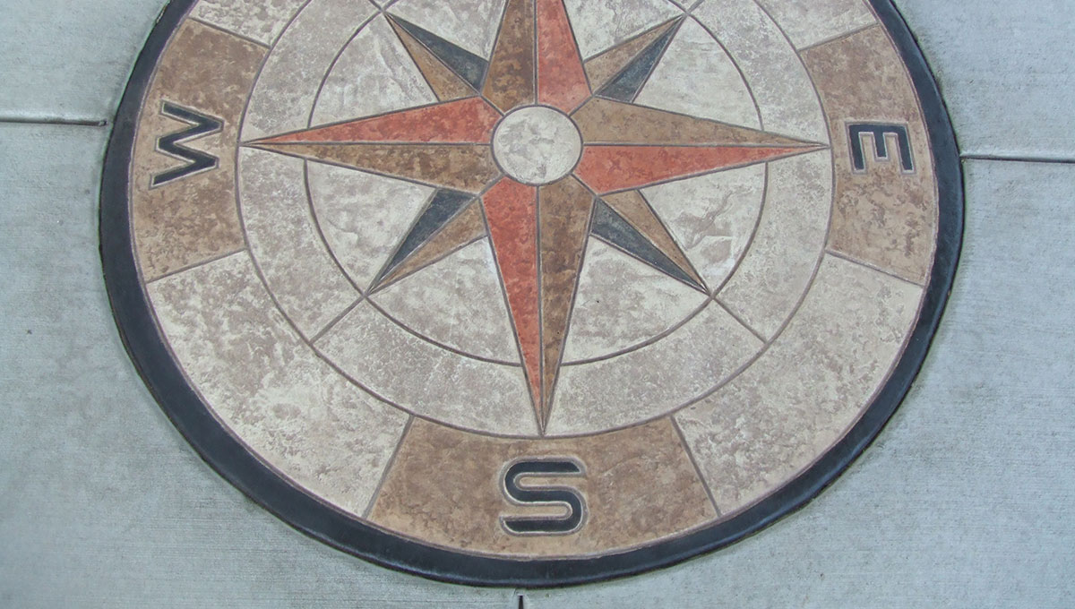 Decorative compass rose concrete stamp