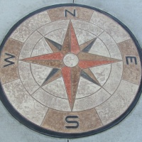 Compass Rose colored concrete stamp