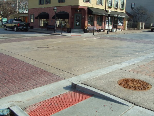Village Intersection with stamped concrete.