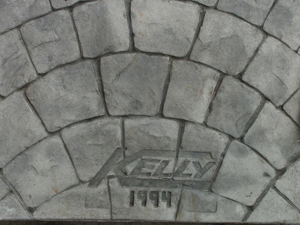 Closeup photo of a European stone fan concrete stamp.
