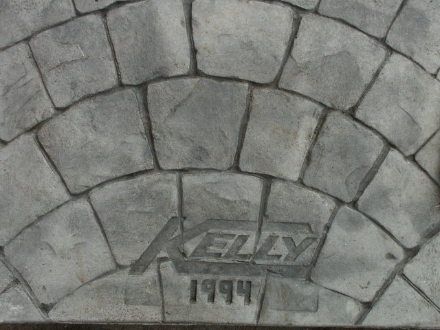Closeup photo of a European stone fan concrete stamp.