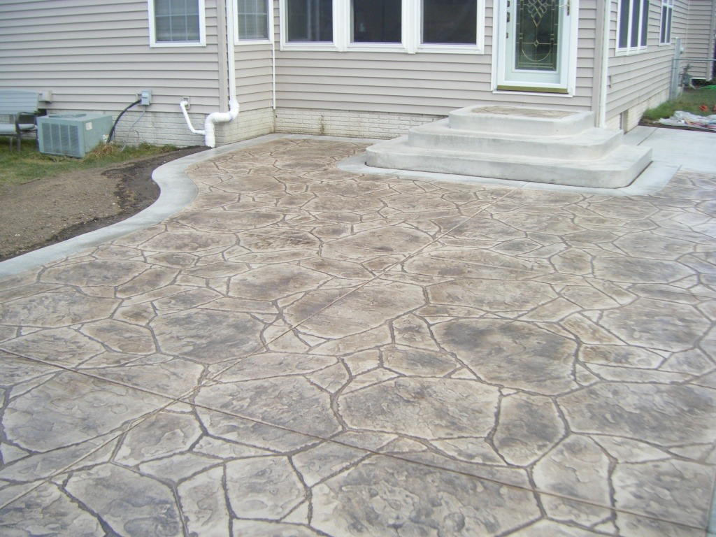 Tan Arizona stone stamped concrete.