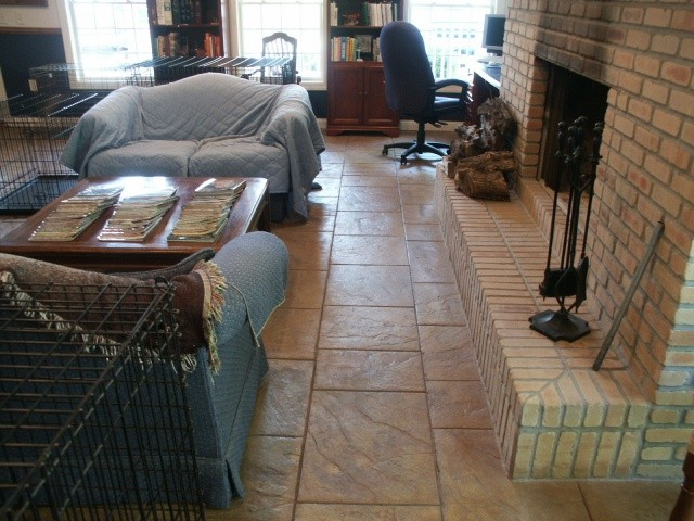 Walkway slate interior stamped concrete.