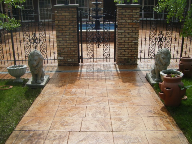 Walkway slate stamped concrete