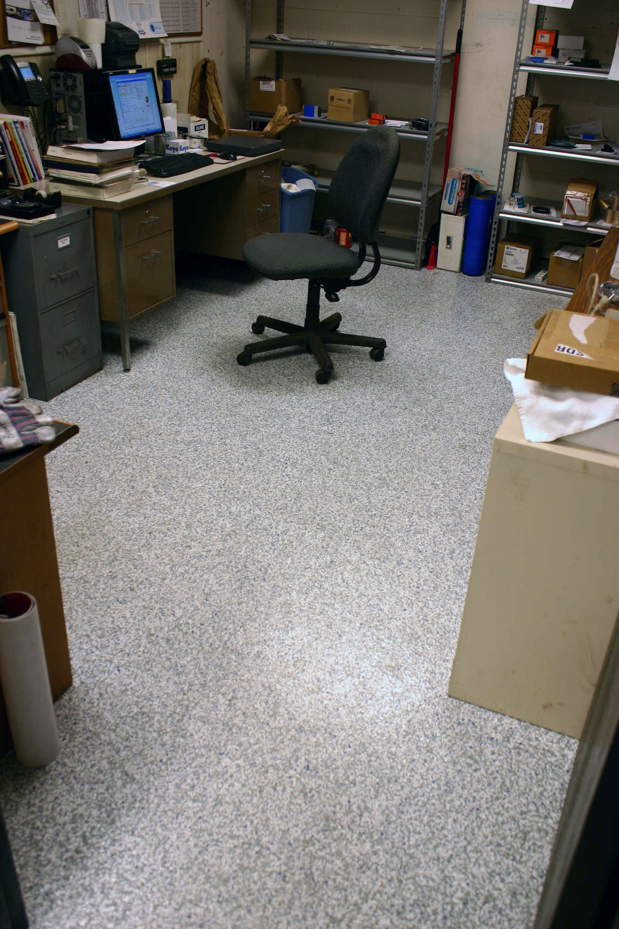 Business office with fresh new polytek-coated concrete floor
