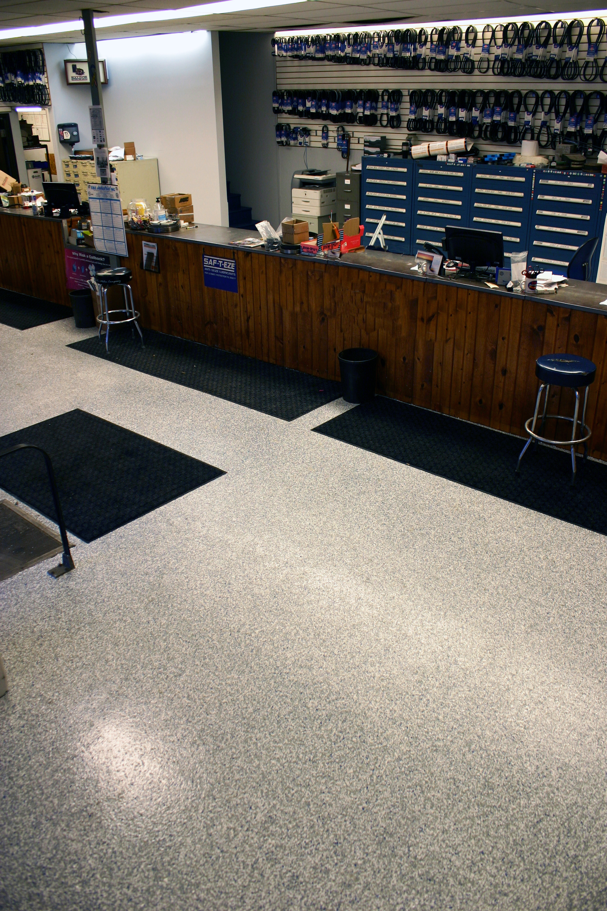 Business with new polytek-coated concrete floor
