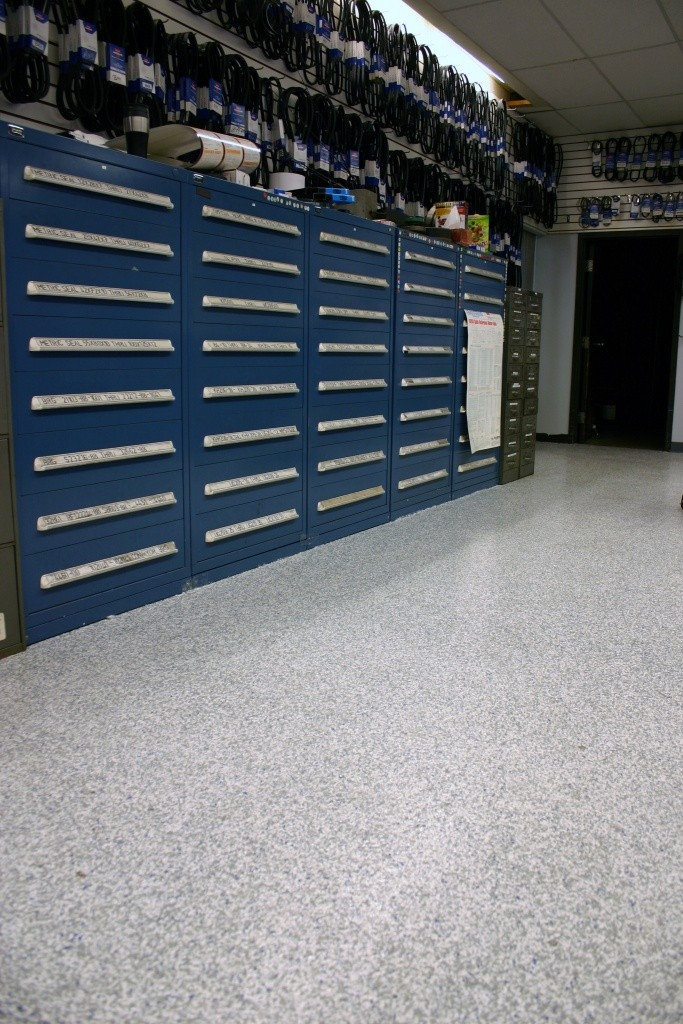 Storage room with new polytek-coated concrete floor